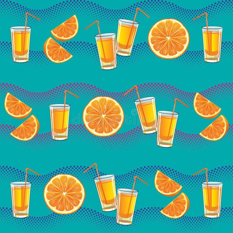 Achtergrond met oranje plakken en jus d'orange vector illustratie