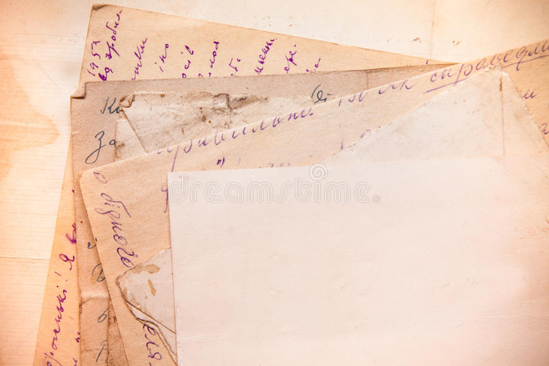 Achtergrond met oude documenten en brieven stock fotografie