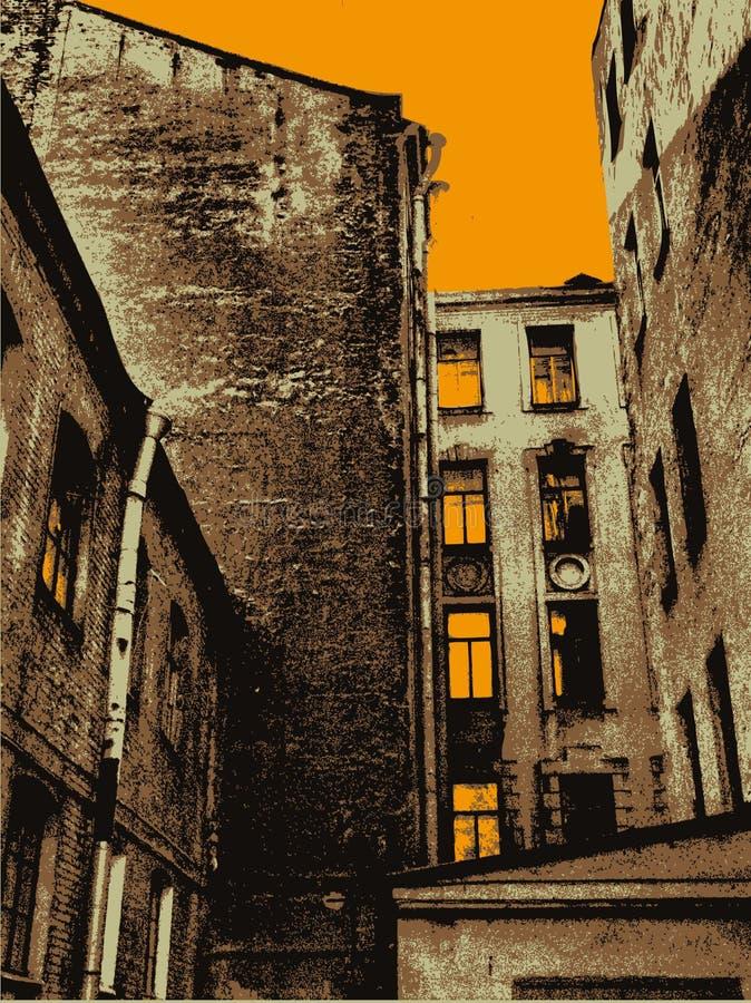 Achtergrond met oude stad en zonsondergang stock illustratie
