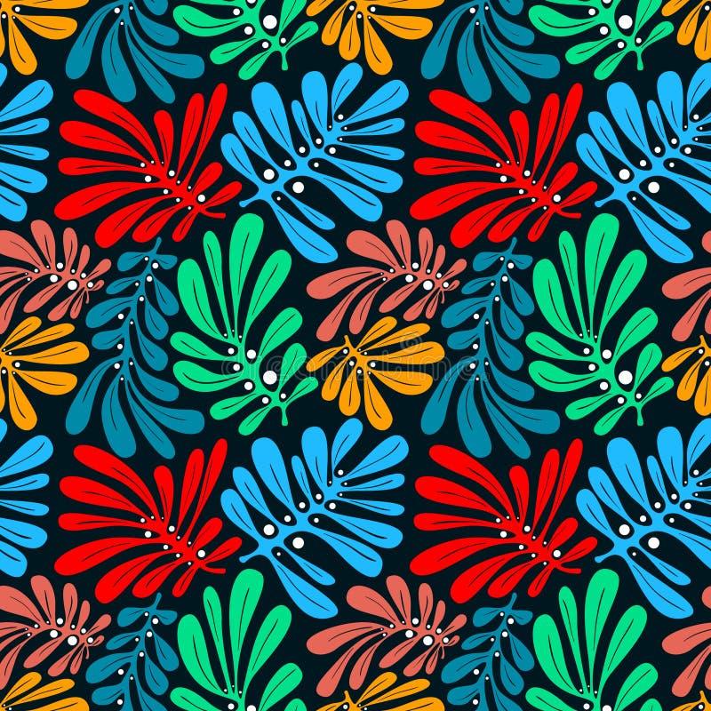 Achtergrond met palmbladen Tropisch naadloos patroon met mons stock illustratie