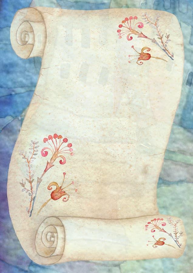 Achtergrond met perkamentbroodje royalty-vrije illustratie