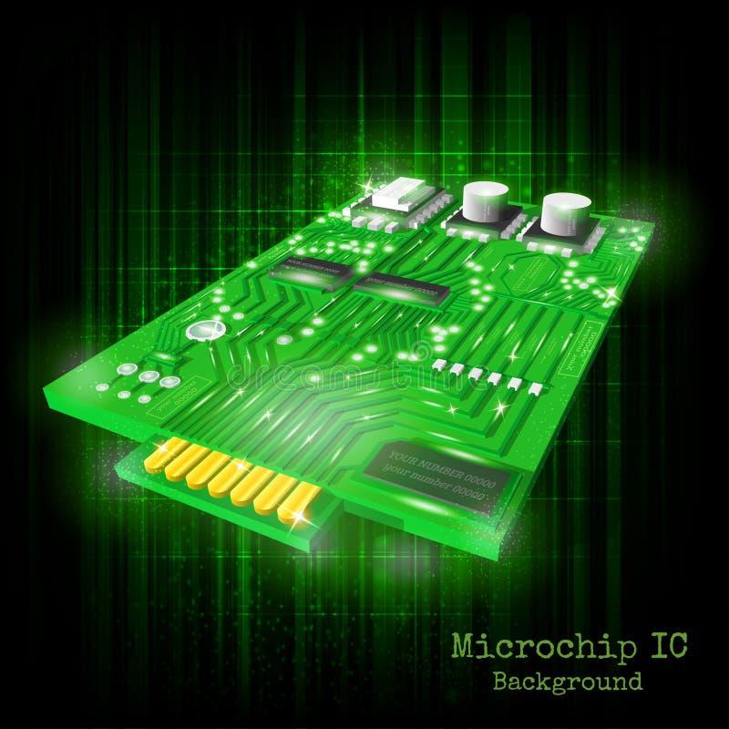 Achtergrond met realistische 3d microchip bij het zwarte groene glanzen royalty-vrije illustratie