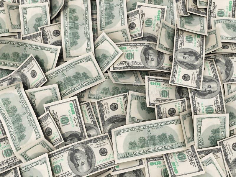 Achtergrond met rekeningen van geld de Amerikaanse honderd dollars stock illustratie