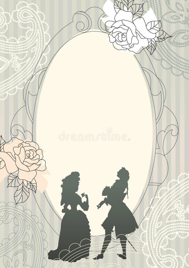 Achtergrond met rococo silhouetten stock illustratie