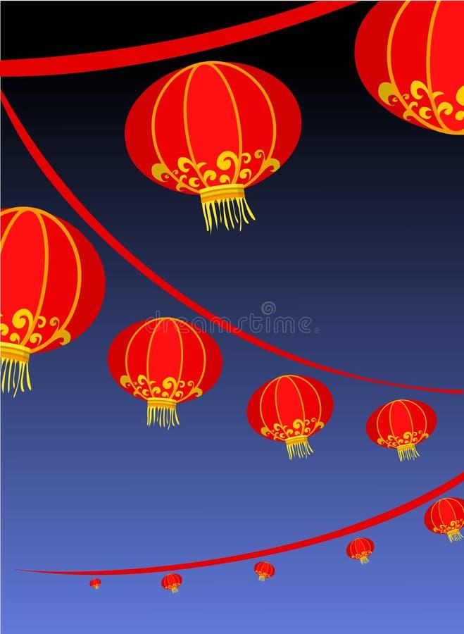 Achtergrond met rode Chinese lantaarn royalty-vrije illustratie