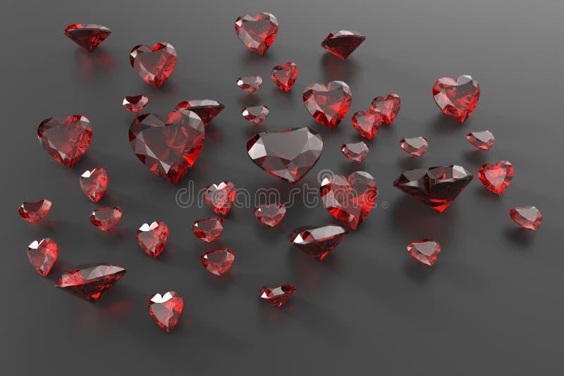 Achtergrond met rode halfedelstenen 3D Illustratie stock illustratie