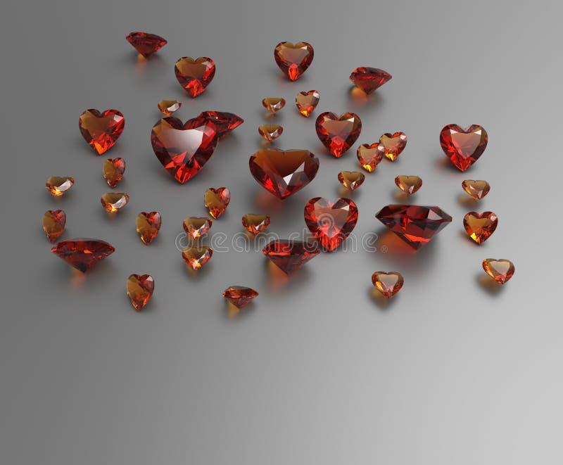 Achtergrond met rode halfedelstenen 3D Illustratie stock foto's