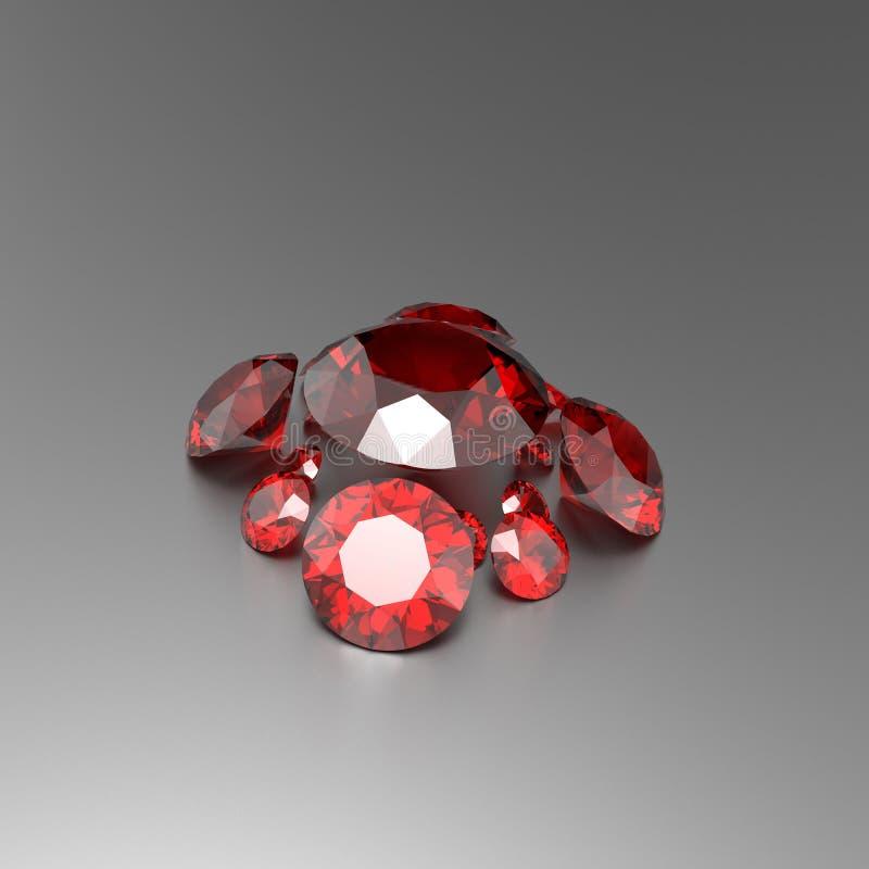 Achtergrond met rode halfedelstenen 3D Illustratie stock afbeeldingen