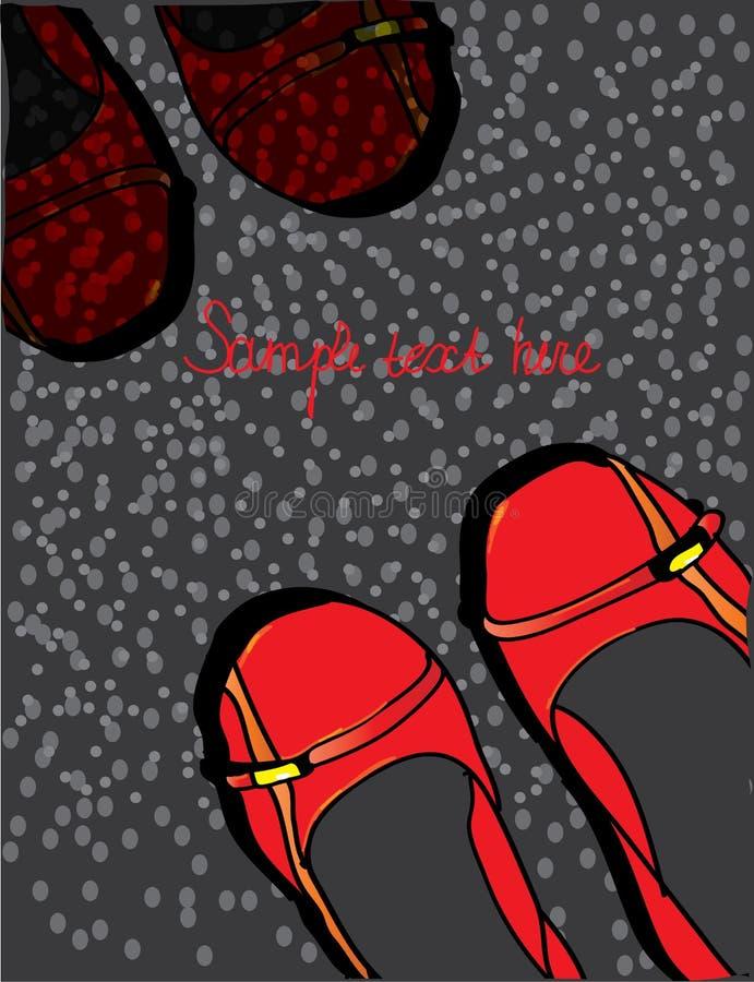 Achtergrond met rode schoenen gespikkeld met tekst en vector illustratie
