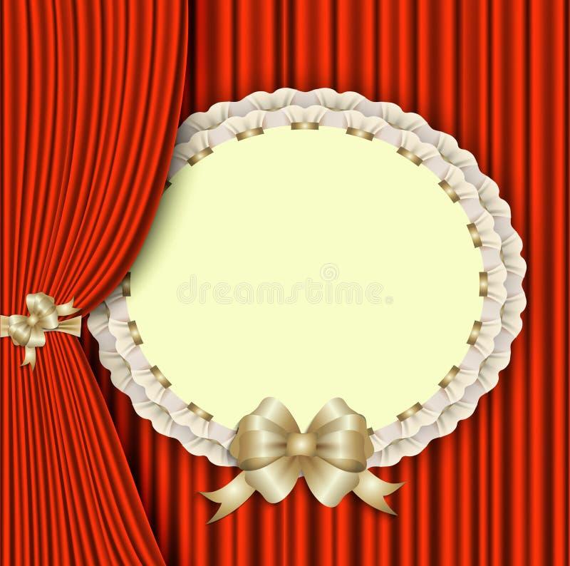 Achtergrond met rood gordijn en elegante lege prentbriefkaar vector illustratie