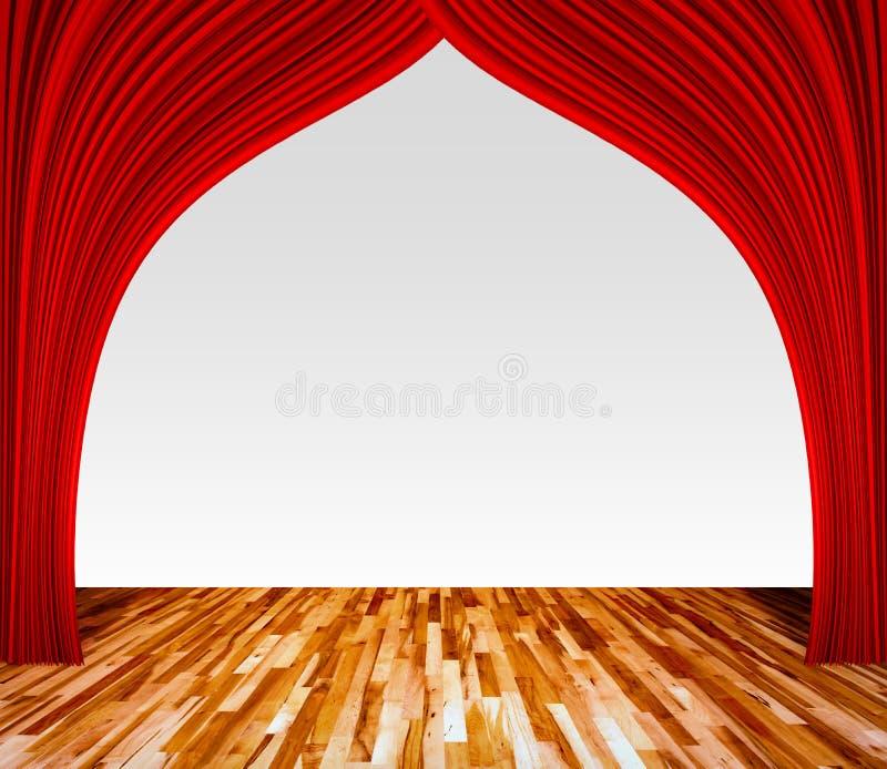 Achtergrond met rood gordijn en houten vloer binnenlandse achtergrond royalty-vrije stock fotografie