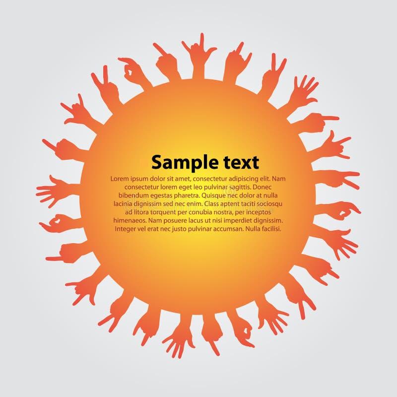 Achtergrond met silhouetten van handen vector illustratie