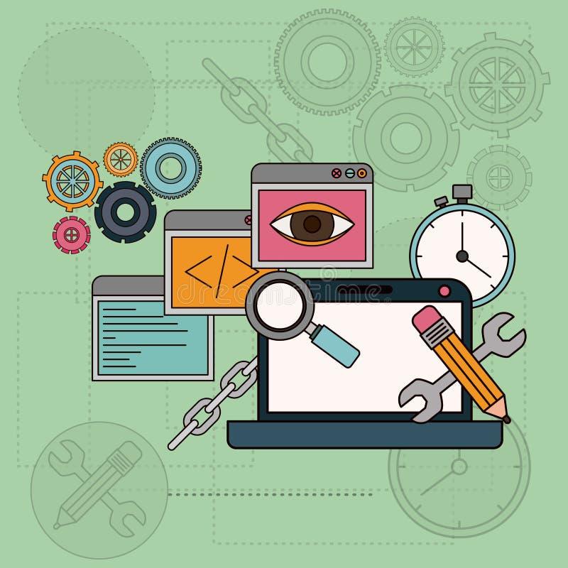 Achtergrond met softwarehulpmiddelen voor ontwikkeling van de bouw in laptop computer royalty-vrije illustratie