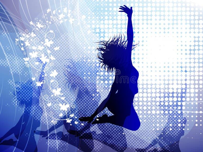 Achtergrond met springend meisje vector illustratie