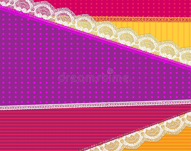 Achtergrond met stof en helder kant vectorontwerp stock illustratie