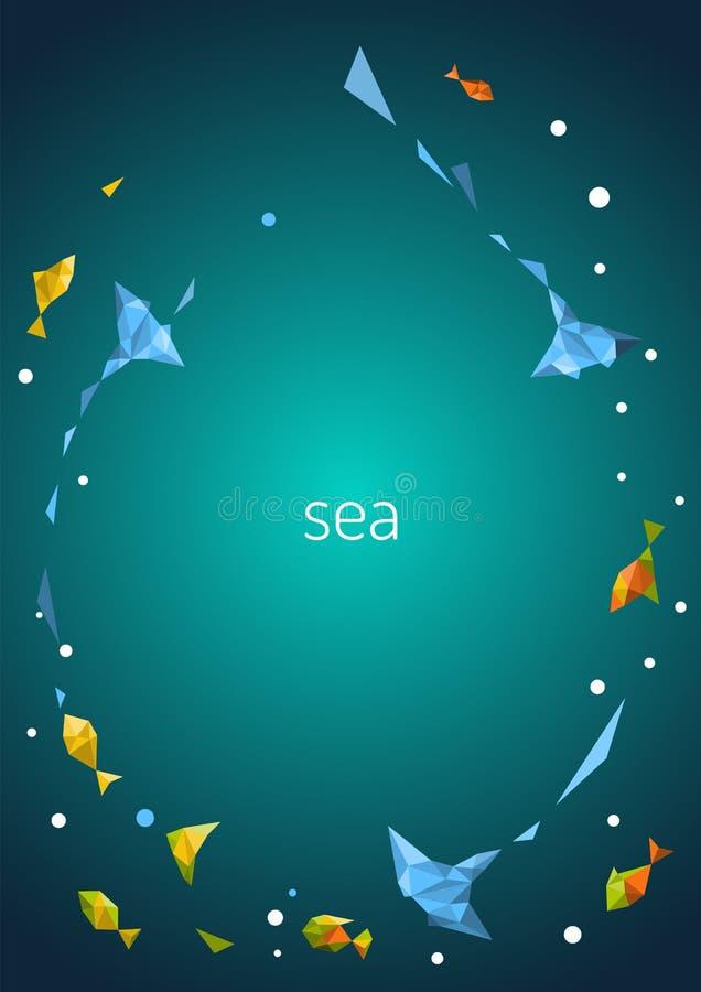 Achtergrond met stralen en kleurrijke vissen vector illustratie