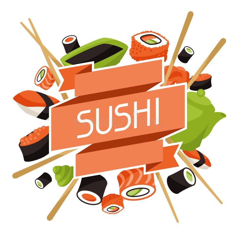 Achtergrond met sushi vector illustratie