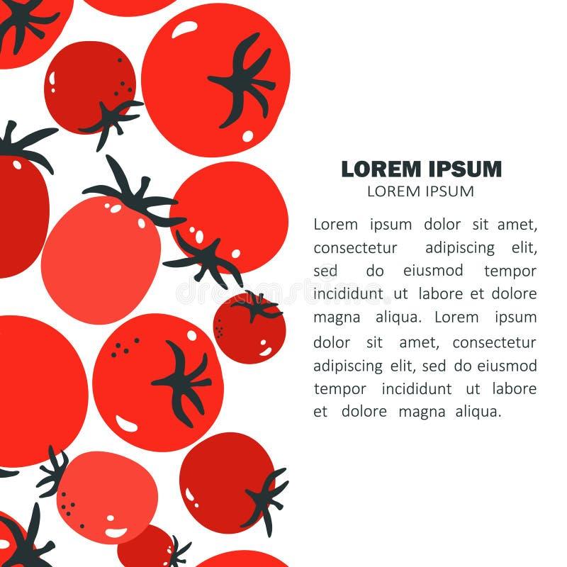 Achtergrond met tomaten en plaats voor tekst vector illustratie
