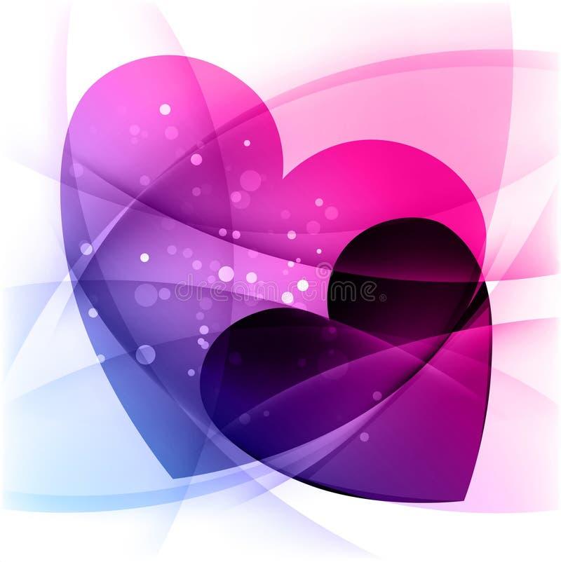 Achtergrond met twee harten, Valentijnskaartendag vector illustratie