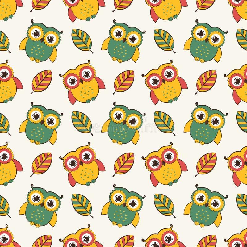 Achtergrond met uilen en bladeren Vector naadloos patroon vector illustratie
