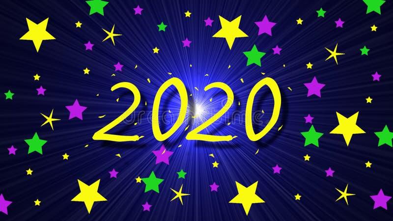 2020 Achtergrond met uitbarsting en sterren vector illustratie