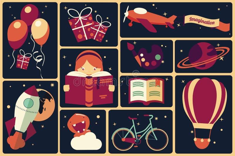 Achtergrond met verbeeldingspunten en een meisje die een boek lezen vector illustratie