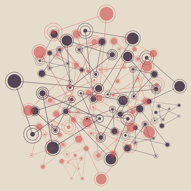 Achtergrond met verbonden lijnenpunten en cirkels vector illustratie