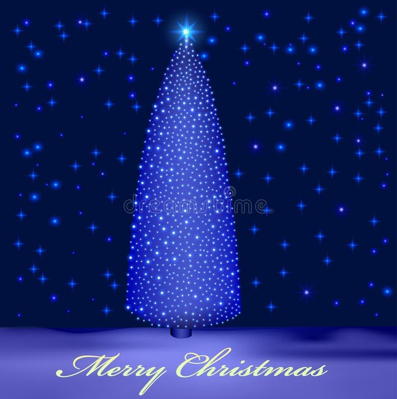 Achtergrond Met Verlichte Kerstboom In De Sneeuw Vector Illustratie ...