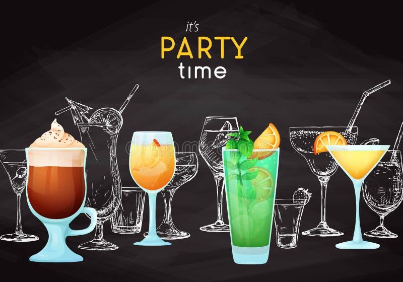 Achtergrond met verschillende cocktails Tekeningskrijt op een bord Titel: het is partijtijd Plaats op uw tekst Vector stock fotografie