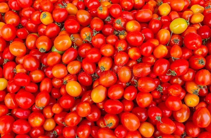 Achtergrond met verse rode tomaten in markt stock afbeeldingen
