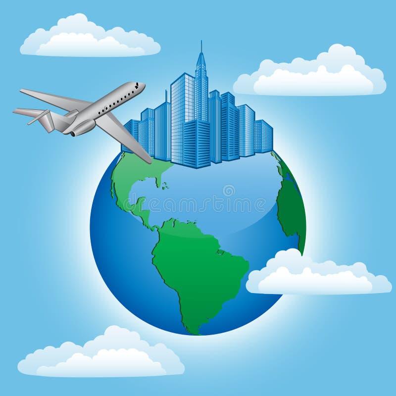 Achtergrond Met Vliegtuig En Aarde Stock Foto
