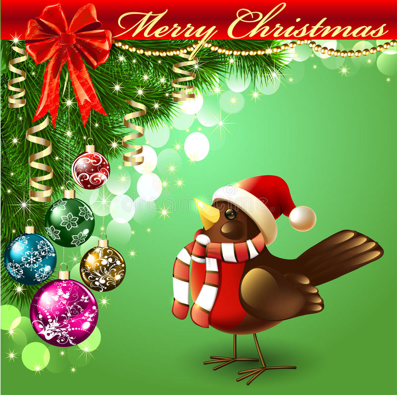 Achtergrond met vogels en ballons voor het nieuwe jaar stock illustratie