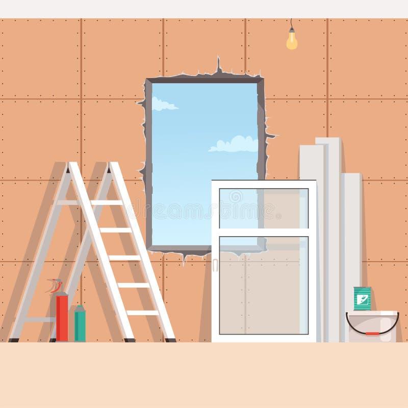 Achtergrond met voorwerpen voor het installeren van een nieuw plastic venster in venster het openen Landschapsreparatie vector illustratie