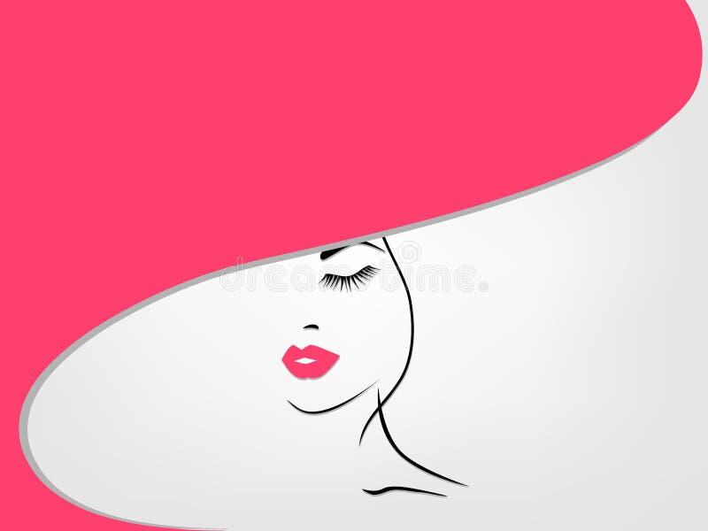 Achtergrond met vrouw in een hoed royalty-vrije illustratie