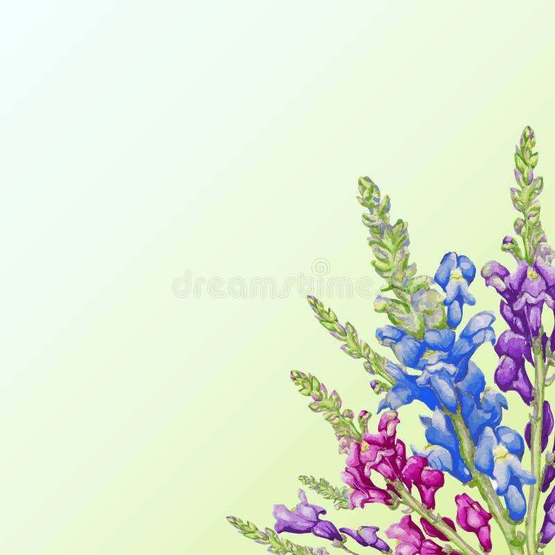 Achtergrond met waterverfbloemen stock illustratie