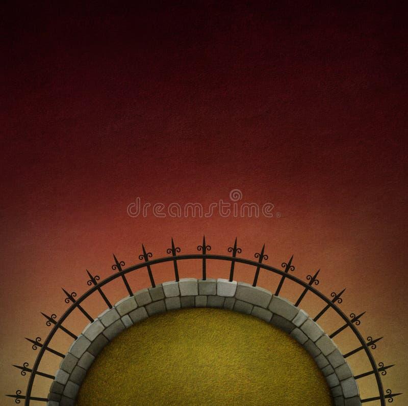 Achtergrond met weide en omheining. royalty-vrije illustratie