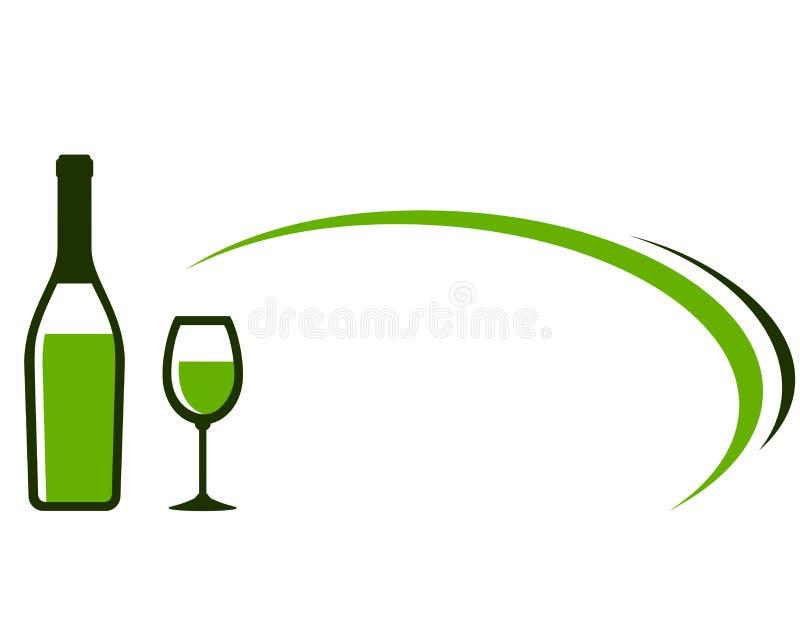 Achtergrond met wit wijnfles en glaspictogram royalty-vrije illustratie