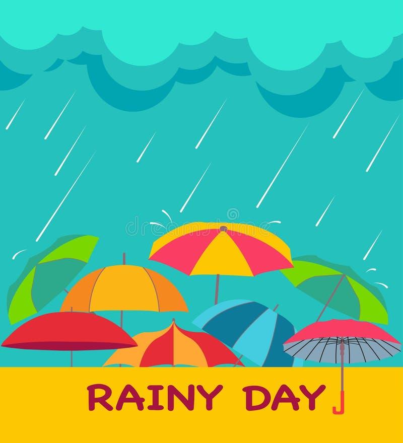 Achtergrond met wolken, regendruppels en paraplu's, vector illustratie