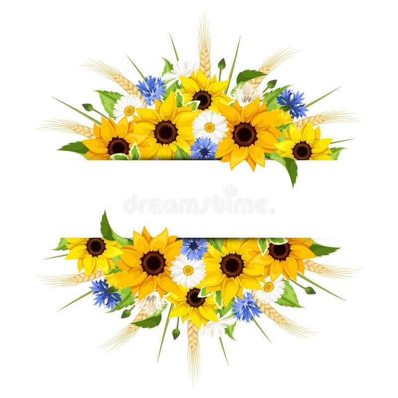 Achtergrond met zonnebloemen, madeliefjes, korenbloemen en oren van tarwe Vector eps-10 vector illustratie