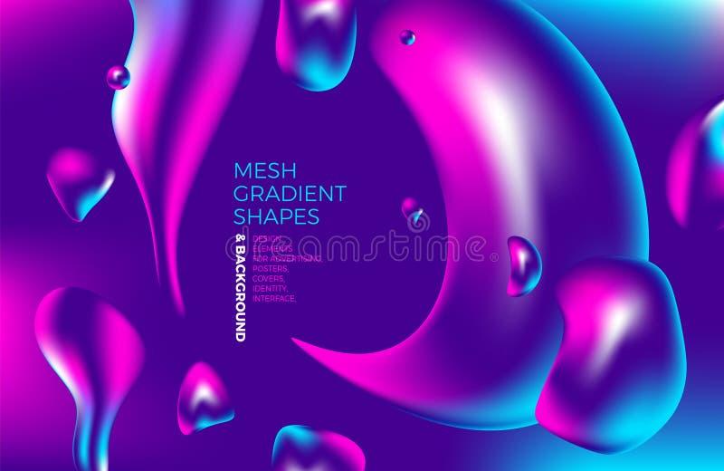 Achtergrond multicolored abstracte vector holografische gradiënt 3D achtergrond met cijfers en voorwerpen voor Web, verpakking, a stock illustratie