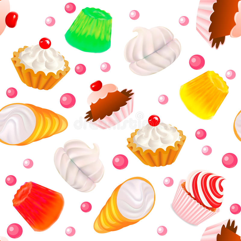 Achtergrond naadloos met fruitcakes, heemst, stock illustratie