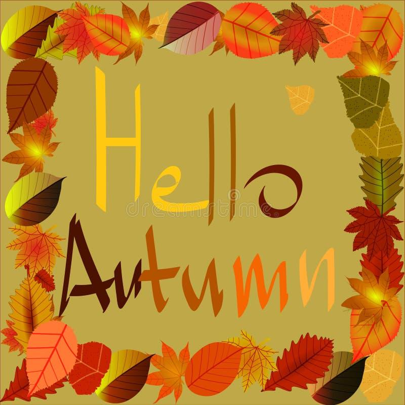 Achtergrond op een thema van de herfst met bladeren De herfst komt royalty-vrije illustratie