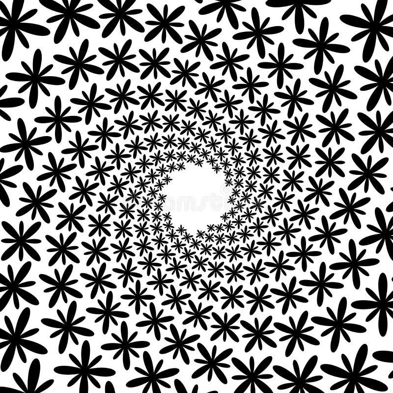Achtergrond, patroon, zwart-wit spiraalvormig patroon De ronde centreerde Halftone illustratie Bloem, bloemblaadje, bloemblaadjes stock illustratie