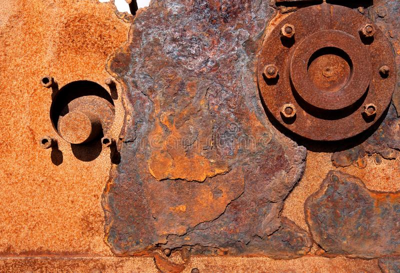 Achtergrond Sluit omhoog, roestige machines Dungeness, Kent royalty-vrije stock foto