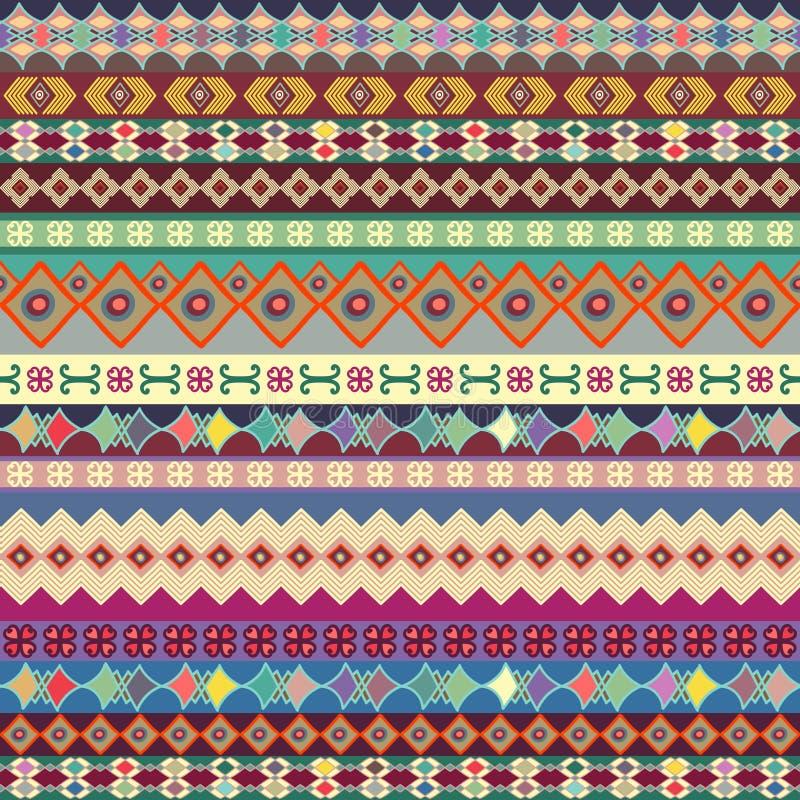 Achtergrond Strookornament Helder met de hand geschilderd patroon met decoratieve details stock illustratie