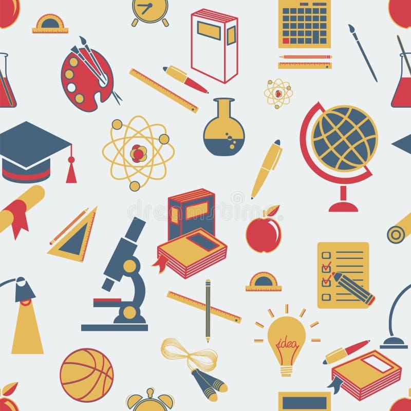 Achtergrond terug naar schoo, vector, vlakke pictogrammen royalty-vrije illustratie