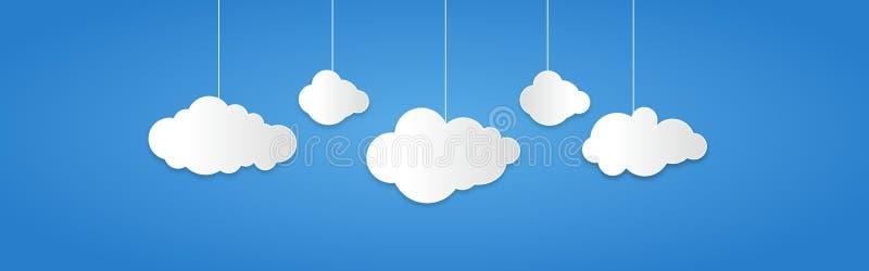 Achtergrond uit Witboekwolken wordt samengesteld over blauw dat Vector illustratie