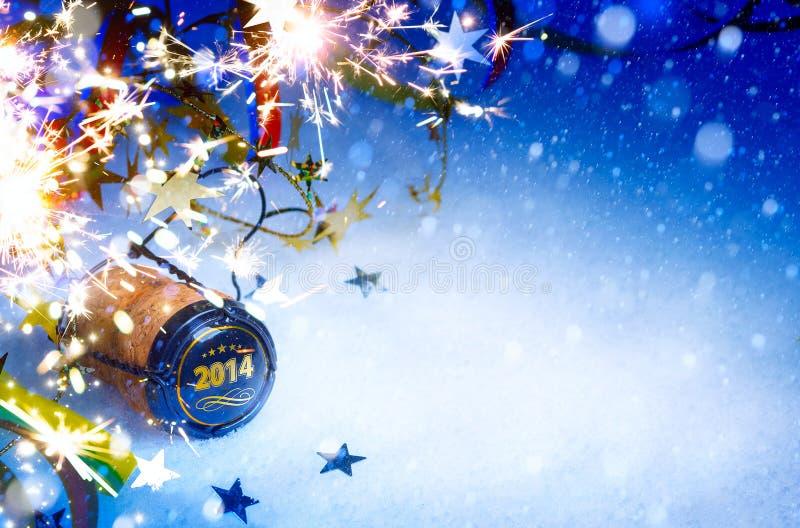 Achtergrond van Art Christmas en de Nieuwe van de het jaarpartij van 2014 royalty-vrije stock foto