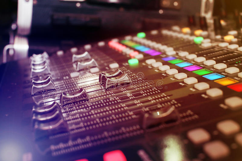 Achtergrond van audiomixer stock foto's