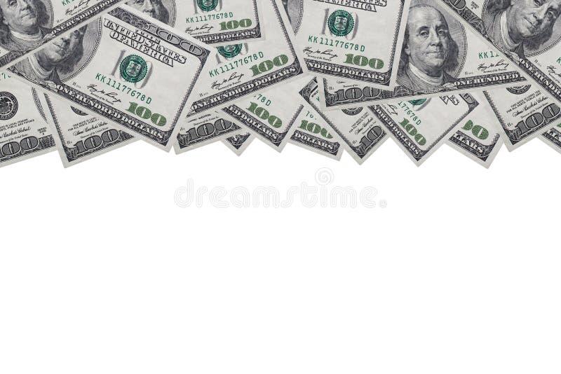 Achtergrond van biljetten van 100 dollar op een witte achtergrond met een plaats voor verslagen, exemplaarruimte stock foto's
